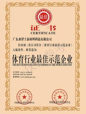 欧亿-体育行业最佳示范企业证书